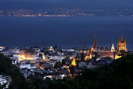 details night panorama Lausanne, Geneva lake, Switzerland photo