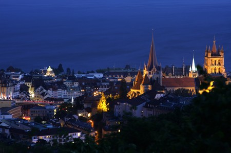 details night panorama Lausanne, Geneva lake, Switzerland photo