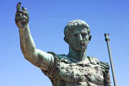 statue of Julius Caesar Augustus in Rome, Italy Stock Photo