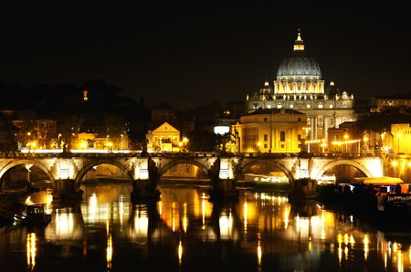 view of panorama night Vatican City in Rome, Italy Stock Photo