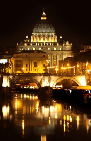 view of panorama night Vatican City in Rome, Italy photo
