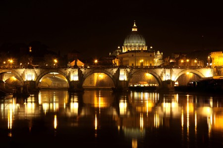 rome italy: view of panorama night Vatican City in Rome, Italy Stock Photo