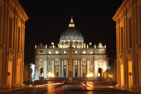 view of Basilica di San Pietro, night,Vatican City in Rome, Italy  photo