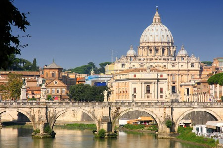 ponte: view of panorama Vatican City from Ponte Umberto I in Rome, Italy