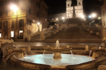 Piazza di Spagna of night in Rome, Italy  photo