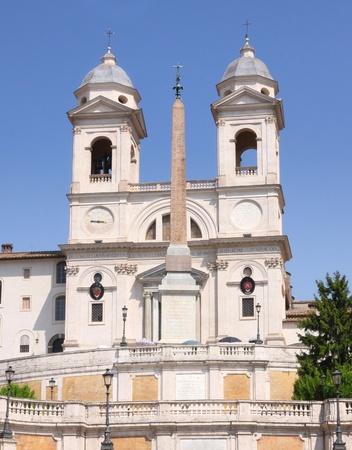 trinita: Spanish Steps and church of Trinita dei Monti in Rome Italy