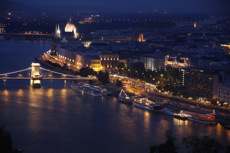 view of panorama Budapest, Hungary, from fortress Citadel photo