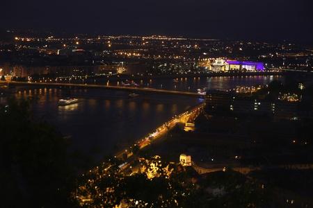 view of panorama Budapest, Hungary, from fortress Citadel, Petofi bridge photo