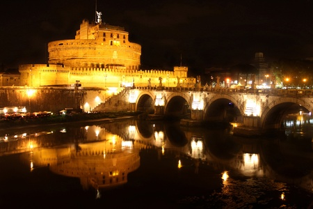 angelo: view of Castel Sant Angelo night in Rome, Italy