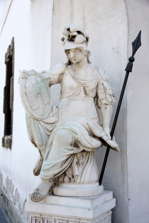 pallas: details of Pallas Athena statue in Budapest, Hungary Stock Photo