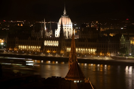 The parliament building at night in Budapest, Hungary photo
