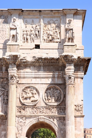 constantino: details of Arco de Constantino in Rome, Italy Stock Photo