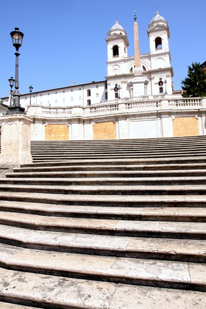 spanish landscapes: Spanish Steps and church of Trinita dei Monti in Rome Italy