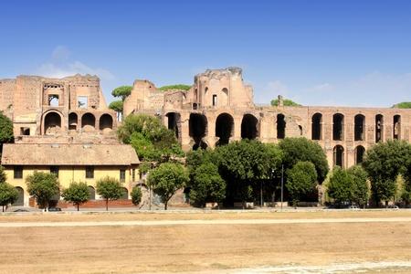palatine: Ruins of Palatine hill palace in Rome, Italy (Circus Maximus) Stock Photo