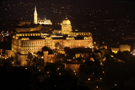 citadel: view of Buda castle, Budapest, Hungary from Citadel  Stock Photo