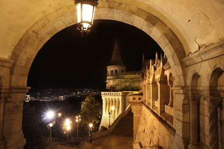 bastion: details of Fishermans bastion in Budapest, Hungary Stock Photo