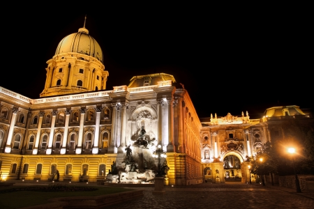 europa: shot of night Buda Castle in Budapest, Hungary