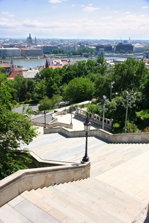 buda: Details The stairs of the Fishermans Bastion and panorama, Budapest, Hungary