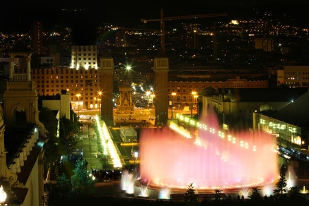 Magic fountain in city Barcelona, Spain photo