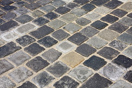 buda: details shot of street paved with cobblestone аt Buda castle in  Budapest, Hungary