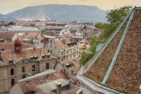 panoramic view of Geneva, Switzerland from Cathedral Saint Pierre photo