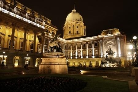 shot of night Buda Castle in Budapest, Hungary photo