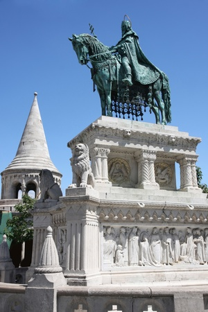 hill of the king: Saint Istvan statue and fishermans bastion in Budapest, Hungary