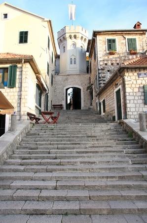 montenegro: the old city street in Herceg Novi, Montenegro Stock Photo
