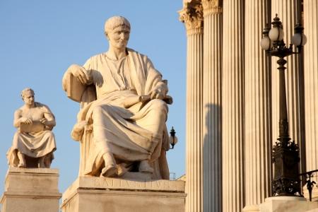 Statue of Sallustius in front of Austria parliament in Vienna, Austria Stock Photo - 15093410
