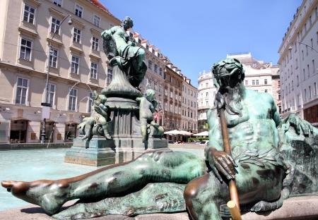 donner: The Donner Fountain (Donnerbrunnen) in Neuer Markt in Vienna, Austria Stock Photo