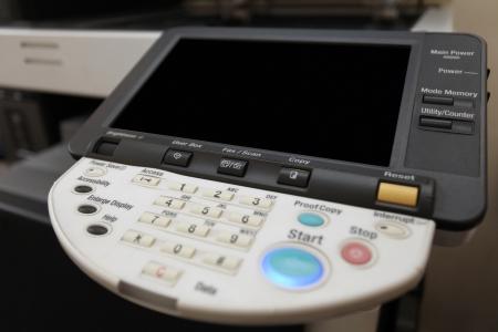 fotocopiadora: Detalles del teclado de botones de la copiadora láser Foto de archivo