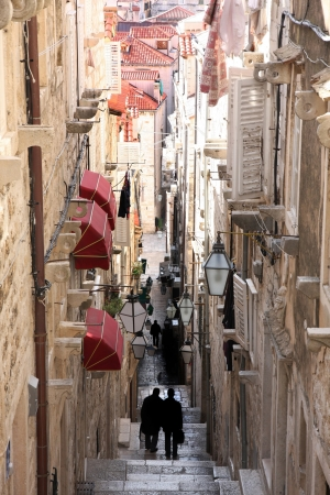 details of Narrow street in old city Dubrovnik, Croatia photo