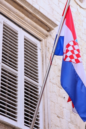 details of national flag of Croatia on the wall in Dubrovnik photo