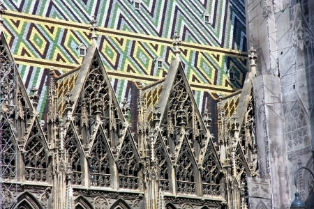 stephansplatz: Tiles Roof of Stephansdom Cathedral in Vienna, Austria