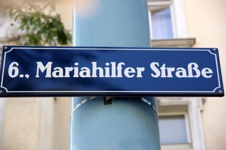 street name sign: Street Sign at Mariahilferstrase in Vienna, Austria