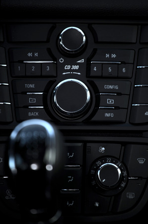 Details closeup of cockpit and dash, gearstick in modern car photo