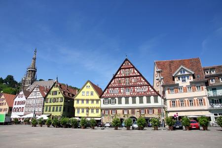 baden wurttemberg: Medieval buildings in Market Square - Marktplatz, Rathaus in Esslingen am Neckar, Baden Wurttemberg, Germany
