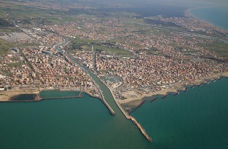 tyrrhenian: Aerial view of the Tyrrhenian coastline and Fiumicino town, near Roma, Lazio, Italy