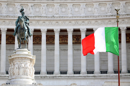 italy flag: The Piazza Venezia, Vittorio Emanuele, Monument for Victor Emenuel II, in Rome, Italy Stock Photo