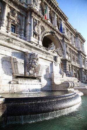 italian fountain: Italian Palace of Justice with fountain in Rome, Italy