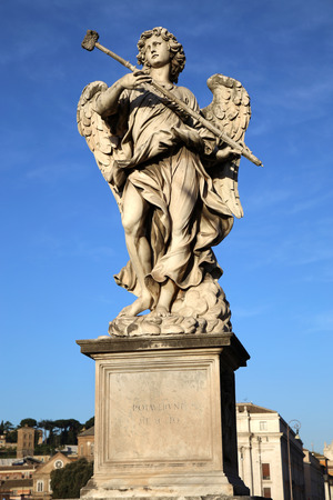 sponge: Statue Potaverunt me aceto on bridge Castel Sant Angelo in Rome, Italy Stock Photo