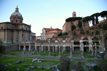 view of Senate House of Julius and  ancient Mamertine Prison in Rome, Italy photo