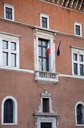Piazza Venezia a Roma, Italia, balcone costruzione dove si parla Duce Benito Mussolini