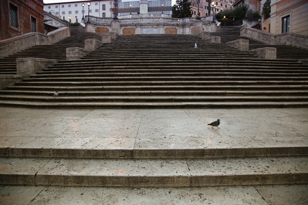 spagna: Spanish square with Spanish Steps  in Rome Italy, piazza Spagna ( photographed very early in the morning )