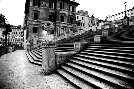 Spanish square with Spanish Steps  in Rome Italy, piazza Spagna photo