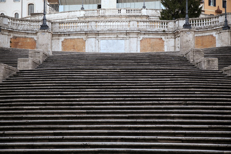 monti: Spanish square with Spanish Steps  in Rome Italy, piazza Spagna ( photographed very early in the morning )