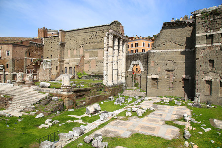 augustus: The Forum of Augustus (Foro di Augusto) with the temple in Rome, Italy