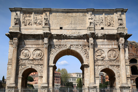 details of Arco de Constantino and Colosseum in Rome, Italy