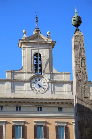 obelisco: Obelisk of Montecitorio and Italian parliament on Piazza di Montecitorio in Rome, Italy Editorial