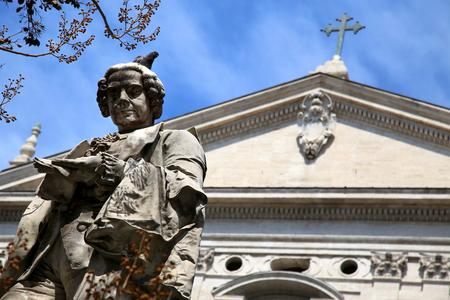 pietro: Statue poet Pietro Metastasio in Corso Vittorio Emanuele II, Rome, Italy Stock Photo